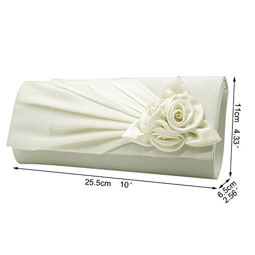 Evening Bag Wocharm Floral Amazing Prom Ladies Clutch Handbag Brand Ivory Flower Party Satin Wedding Post New UK Envelope PAOOXwdqr