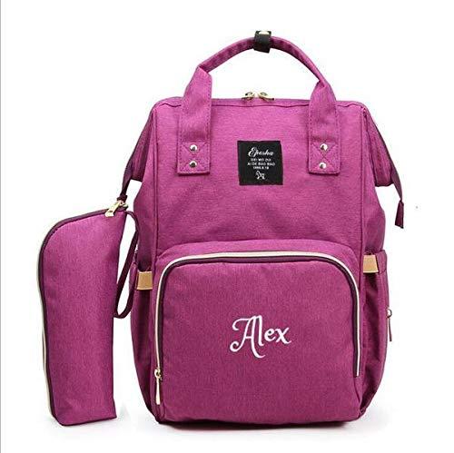 - Personalized Large Diaper Bag Knapsack/Tote Bag/Backpack/Messenger Bag/Shoulder Bag -Custom Monogram Embroidered for Infant/Baby Bag/Baby Gift (Purple Knapsack)