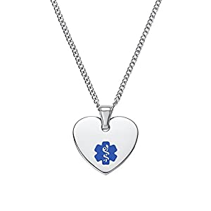 "Divoti Free Deep Custom Laser Engraving-Heart Tag Medical Alert ID Pendant Necklace for Women -24"" Stainless Curb Chain"