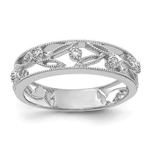 (14K White Gold Flower Vine Design Diamond Ring (0.06Cttw))
