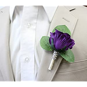 Angel Isabella Boutonniere-Nice hand-crafted rosebud keepsake artificial flower-Pearl headed Pin included (Purple) 25