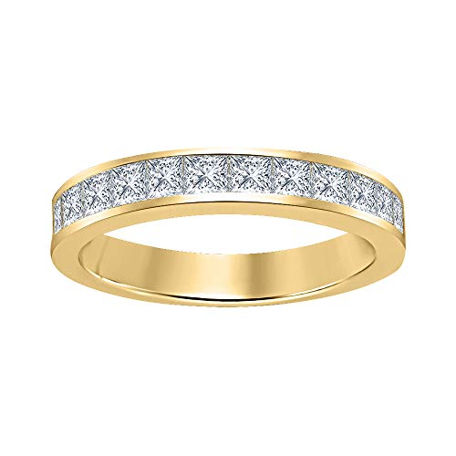 RUDRAFASHION Princess Cut White CZ Diamond Half Eternity 14k Yellow Gold Plated 925 Sterling Silver Wedding Band Ring for Men's