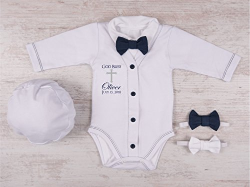 Baby Boy Baptism Outfit, God Bless Personalized White/Navy Cardigan, Bodysuit, Hat and Bow Tie Set by Big.Lil.Tees