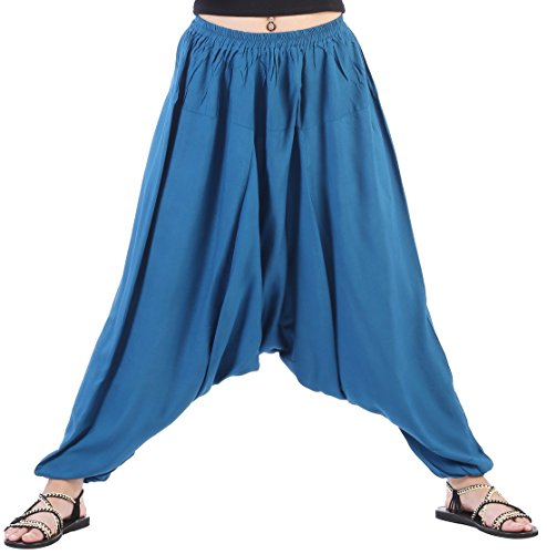 CandyHusky Men Women Elastic Baggy Hippie Boho Gypsy Aladdin Yoga Harem Pants (Midnight Blue)