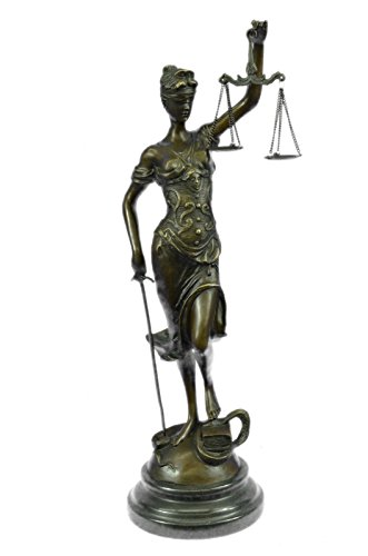 Handmade European Bronze Sculpture Blind Lady of Justice Scales Law Lawyer Attorney Office Bronze Statue -1X-SA-257-Decor Collectible Gift