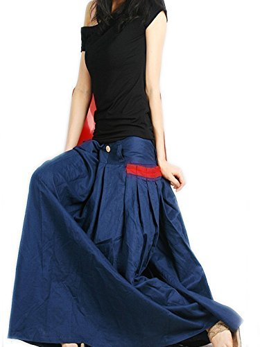 Idea2lifestyle Women's Long Linen Maxi SKirt Indigo Blue (XL(US 18))