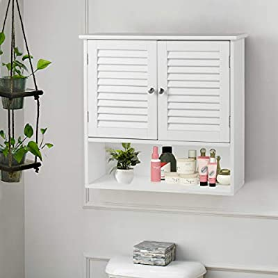 Tangkula Wall Cabinet Medicine Cabinet Wood Collection Hanging Kitchen Bathroom Storage Cabinet Organizer with Double Doors and Adjustable Shelf, White - 🌸 SUIT FOR SMALL PLACE: The wall cabinet can be assembled on wall or over the toilet and space-saving, providing extra storage without taking up valuable floor space, so that this is a perfect storage solution for homes. Its design maximizes the space of your room, which enables you to make your place clear. 🌸 WATER-RESISTANT DESIGN: This bathroom wall cabinet is used a painted process that is waterproof and moisture resistant. That is super suitable for humid environments, such as bathrooms or toilets. It has features of louvered door for air circulation, water-resistant and damp-proof. 🌸 FIT TO MULTI-DECOR: This simplified white wood wall cabinet really is an excellent choice for present concise beauty decor. Some group would also prefer European Style, and we do believe this cabinet can also suitable for it, which can be a bright feature around it. Likewise, America Pastor and Nordic Minimalist Style fit. - shelves-cabinets, bathroom-fixtures-hardware, bathroom - 41SjqJoaezL. SS400  -