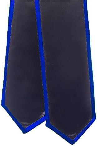 Blank Graduation Stole Royal Blue with Orange Trim