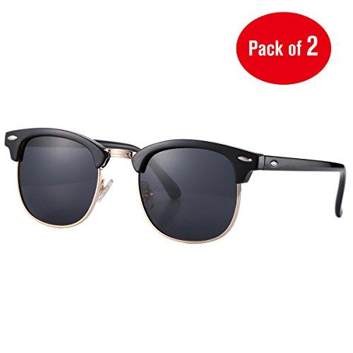 Pro Acme (Pack of 2) Semi Rimless Polarized Clubmaster Sunglasses for Men Women Bright Black Frame/Black Lens + Bright Black Frame/Blue Mirrored Lens