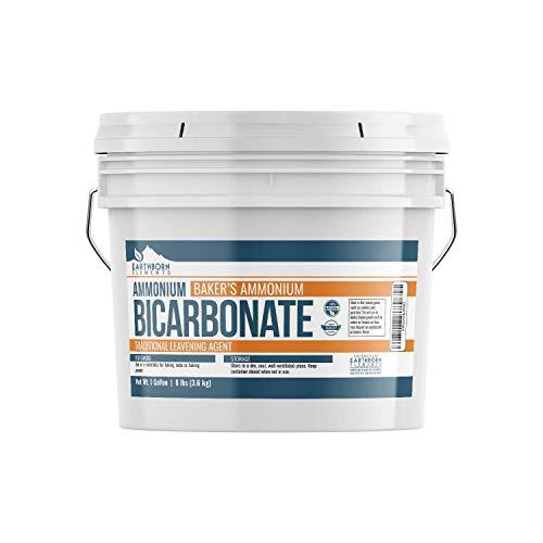 Ammonium Bicarbonate Powder (1 Gallon Bucket, 8 lb) by Earthborn Elements, Food Grade Baker's Ammonia, Flat Baked Goods, Crispy Cookies & Crackers, Leavening Agent, Resealable Bucket