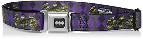 Buckle-Down Men's Seatbelt Belt Batman Kids, Snake Skin Bat Signal/Plaid Grays/Purple, 1.0