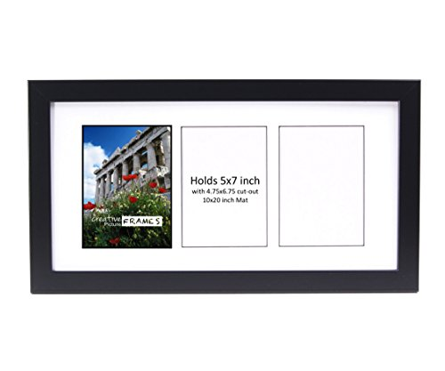 mes CreativePF- 3 Opening Glass Face Black Picture Frame to hold 5 by 7 inch Photographs including 10x20-inch White Mat Collage (Buy Black White Photographs)