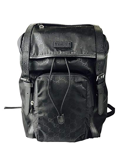 1b8a436c53 Gucci Men's Backpack Black GG Nylon Drawstring with Leather Trim 510336 1000