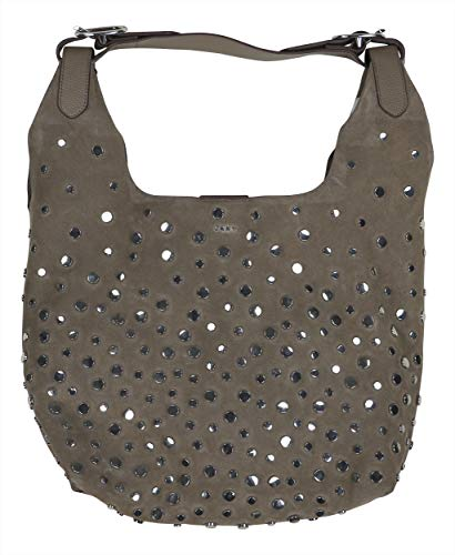 DKNY Wes Studded Genuine Suede Hobo Bag Purse (Desert) (Studded Suede Tote)