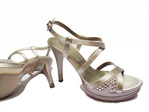 Donna Nero Giardini sandali da in rasocamoscio col. tacco cm.plateau cm.num.