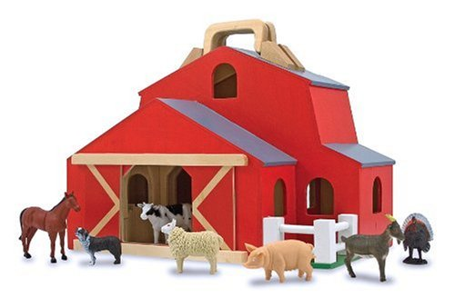 Melissa & Doug Fold & Go Barn With 7 Animal Play Figures (Barn Wooden Set)