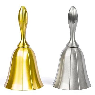 Hand Bell, 2PCS Golden Silver Steel Loud Call Bell Wedding Bell Alarm Hand Hold Service Call Bell Desktop Bell Tea Dinner Bell Game Bell by DomeStar