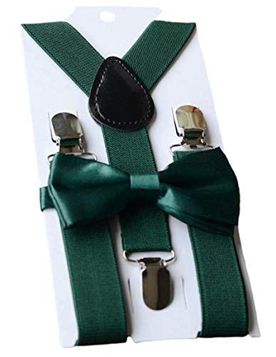 UDRES Unisex Kid Boys Girls Adjustable Bow Tie & Suspender Sets (One Size, Dark Green) ()
