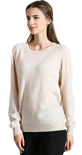Sweater Cashmere Beige (DYS CASHMERE Women's 100% Cashmere Long Sleeve Pullover Crew Neck Sweater)