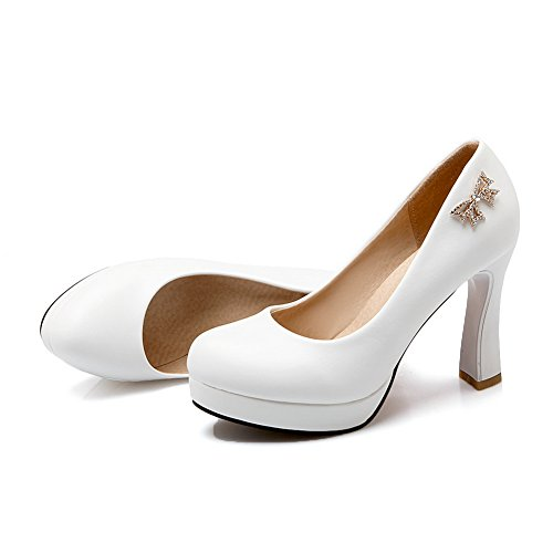1to9 Jenter Danse-moderne Metall Ornament Høye Hæler Patent Lær Pumper-sko Hvit