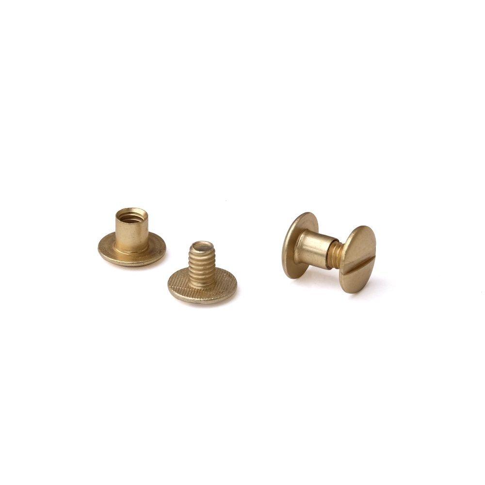 3/16 in. Antique Brass Aluminum Chicago Screws/Screw Posts (Qty 100 sets)