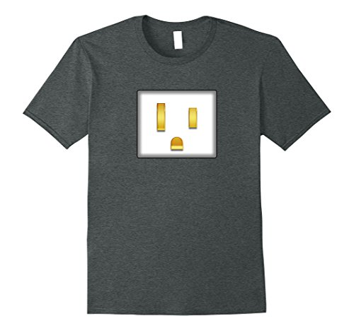 Nerd Costume Ideas For Couples (Mens Electrical Plug To Match Outlet Simple Couples Halloween Tee XL Dark Heather)