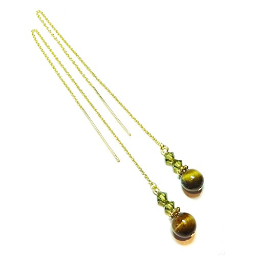 Gold Vermeil, Gemstone Long Drop Chain Ear Threads - Brown Tiger Eye w Swarovski Crystal - 112mm