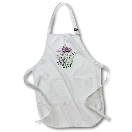 22 by 24-Inch 3dRose apr/_149636/_2 Vintage Flowers Gladiolus in White Pink and Lavender-Medium Length Apron with Pouch Pockets