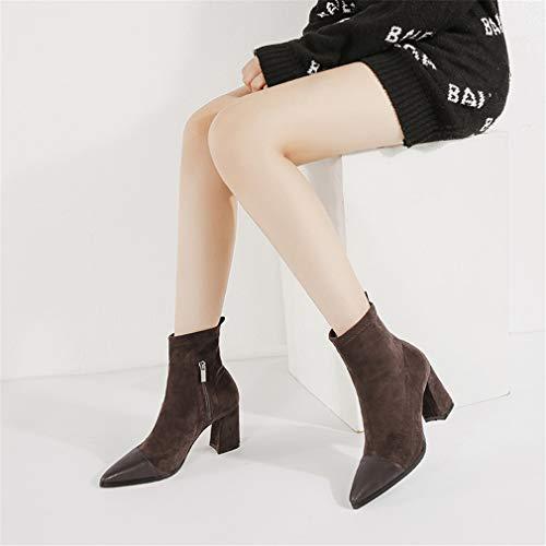 Heels Boda Invierno Chelsea Mujer Para Botines Casual Do Rough De New Noche Zapatos Y Yan High Gamuza Formales Boots Moda Fiesta W4xq78nO