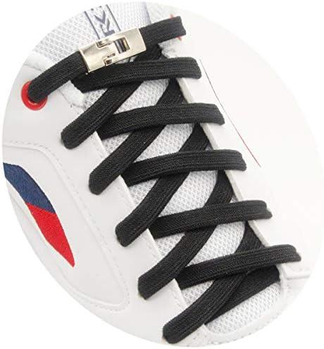 [AIJIABEI] が2足 靴紐 結ばない 靴ひもはスニーカーランニングシューズのための金属フックの安全ボ付きネクタイ靴ひもカジュアルシューズ