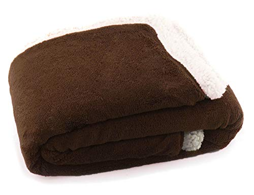 Simplicity Super Soft Fluffy Premium Fleece Pet Blanket Throw for Dog Cat, Brown ()