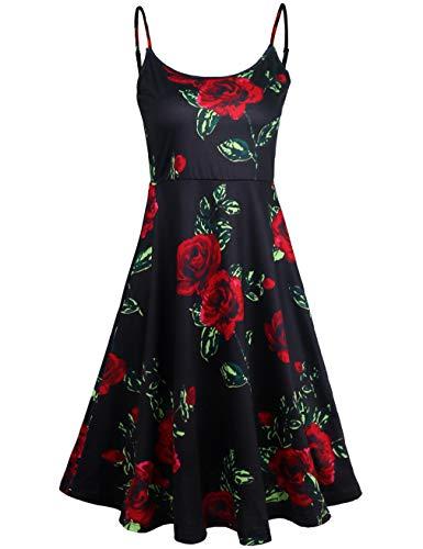 FANVOOK Skater Dress, Little Black Dress Cute Elegant Chic Boutique Clothing Stylish Designer Black XL