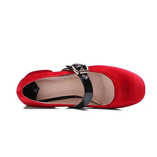 tacón Grueso para con Rojo Nine Seven de Hebilla la Tacón y Zapatos Terciopelo Mujer xwwFCSqA