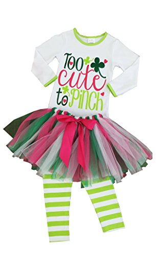 [Girls St Patrick's Day Too Cute To Pinch Tutu Legging Set 6] (Cute St Patricks Day)