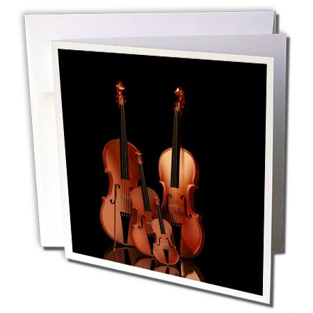3dRose Greeting Cards, Bass and Cello, 6 x 6 Inches, String Instruments Violin (gc_200920_1) - Bass Sets Cello