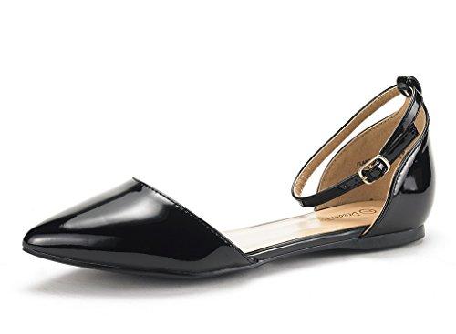 DREAM PAIRS Damen FLAPOINTED-New D'Orsay Ballerinas Schuhe Schwarz Pat