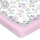 Graco Pack and Play Sheets Pickle & Pumpkin Premium Graco Pack n Play Mattress Sheet | 100% Organic Jersey Cotton Pack and Play Fitted Sheet | 2 Pack | Perfect for Graco Playard and Playpen Mattress | Floral & Pink Design