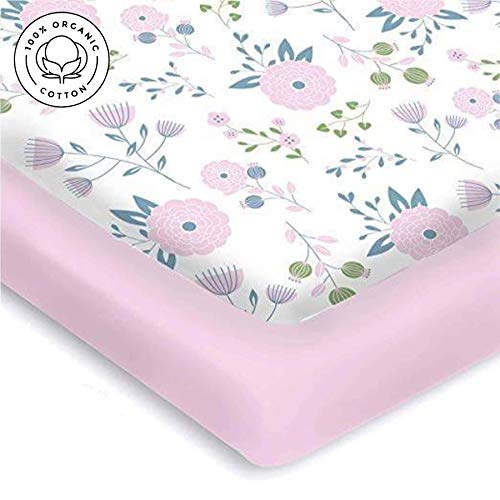 Pickle & Pumpkin Premium Graco Pack n Play Mattress Sheet | 100% Organic Jersey Cotton Pack and Play Fitted Sheet | 2 Pack | Perfect for Graco Playard and Playpen Mattress | Floral & Pink Design