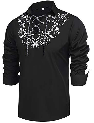 Daupanzees Mens Lace-up Medieval Renaissance Pirate Costume Long Sleeve Shirt