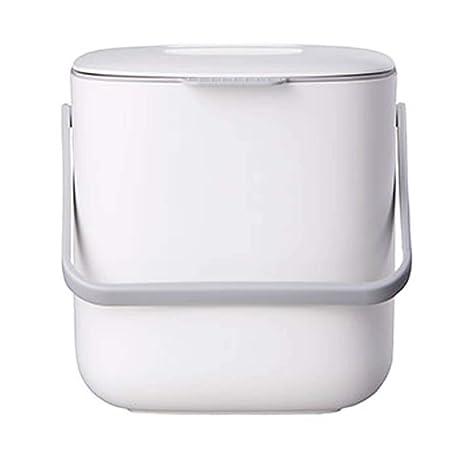 Litem Food Waste Bin with Handle, Kitchen Compost Bin Caddy, Double Bucket,  Kitchen Food Scrap Bin, Plastic, Small (White)