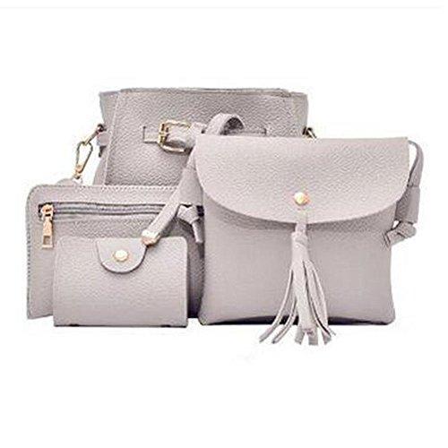 Vin beauty wlgreatsp 4 piezas Elegante mujeres del cuero de la PU bolso de los bolsos Bolsa de hombro de la señora Monedero bolsa d Gris claro