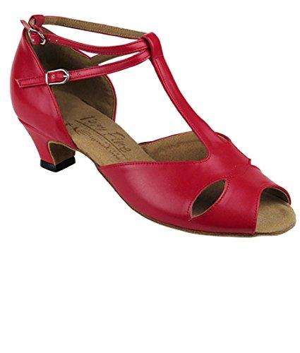Zeer Fijne Ballroom Latin Tango Salsa Dansschoenen Voor Vrouwen S2803 1.2 Inch Hak + Opvouwbare Borstelbundel Rood Leer