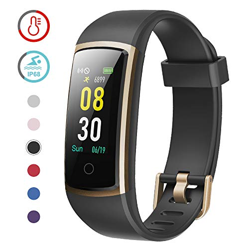 YAMAY Fitness Tracker with Blood Pressure Monitor Heart Rate Monitor Watch,IP68 Waterproof Activity Tracker 14 Modes Smart Watch with Step Counter Sleep Tracker,Fitness Watch for Women Men (Gold) (Mile Tracking Watch)