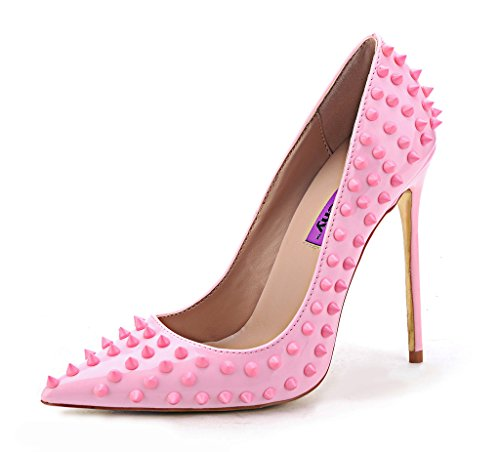 Fashion Classic Rivet High heels Pointed Toe Court Shoes Slip On Bridal Party Pumps UK 2.5-9 Pink