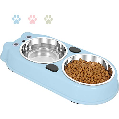 UPSKY Double Dog Cat Bowls Double Premium Stainless Steel Pet Bowls with Cute Modeling Pet Food Water Feeder, Blue (Cat Feeding Bowl)