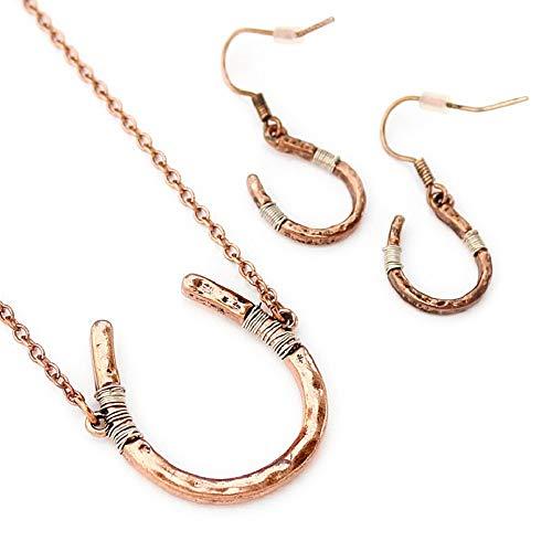 Wyo-Horse Horseshoe Necklace and Earring Set - ()