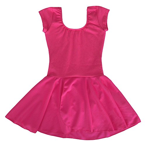 Dancina Classic Leotard Dress Short Sleeve Girls Full Front Lined Non Slip Gift Costume 6 Hot Pink