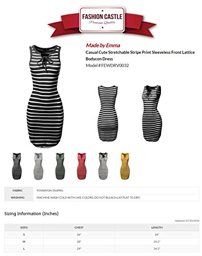 Bodycon Casual Made Stretchable Emma White Soft Black Fewdrv0032 Dress by Stripe Cute Basic Women's qqrpfwx8I