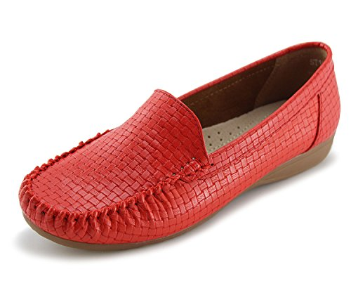 Women's Slip-on Loafers Flat Casual Driving Shoes(6, Red)