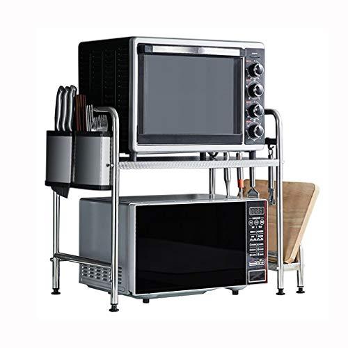 Stainless Steel Kitchen Rack Microwave Oven Shelf, Floor-standing Double Storage Items Seasoning Oven Rack